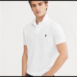 EUC Polo Ralph Lauren white polo. Custom fit sz M